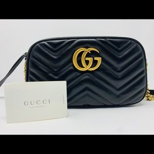 GUCCI GG Marmont Small Black Leather Shoulder Bag